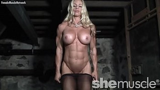 Naked-Female-Bodybuilder-in-Pantyhose-Gets-Dirty