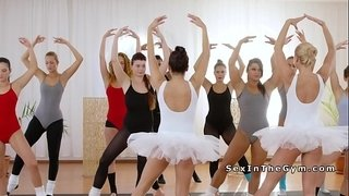 Two-ballerinas-sharing-dick-at-the-gym