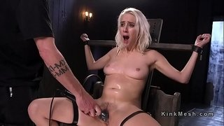 Blonde-slave-hard-flogged-and-gagged-with-dildo-in-bdsm