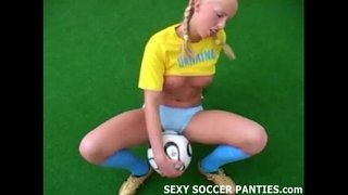 Blonde-Ukranian-soccer-hottie-grinding-on-the-ball