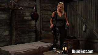 Lesbian-Huntress-Playing-With-Tied-Up-Slave