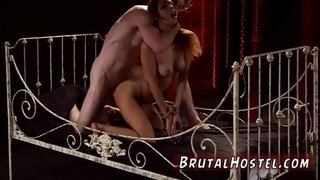 Bdsm-pussy-pain-starts-drilling-her-little-slit-in-his-decrepit-bed.