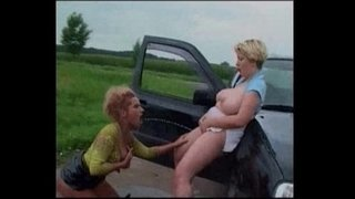 German-Babes-Pissing-on-the-top-of-a-car