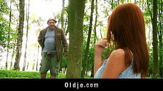 Weird-old-forest-man-fucks-redhead-into-the-woods