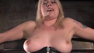 Bound-suspended-babe-strap-on-toy-fucked