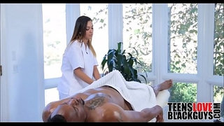 Black-Step-Dad-Fucks-Teen-Daughter-During-Massage