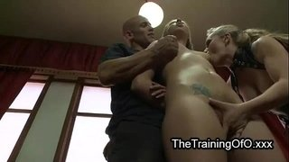 Tied-up-suspended-blonde-threesome-fuck