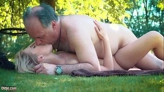 Petite-teen-fucked-hard-by-grandpa-on-a-picnic-she-blows-and-swallows-him