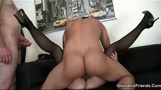 Office-bitch-swallows-two-dicks